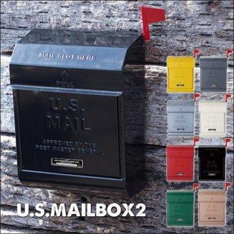 .U.S.MAILBOX2 フラッグ付き!アメリカンなメールボックス(ポスト)ダイヤル施錠タイプ