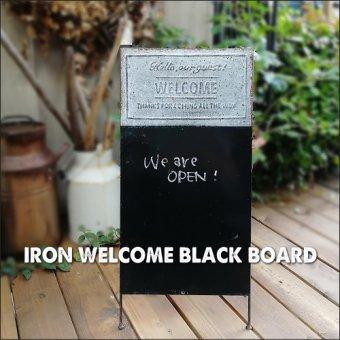 _アイアンウェルカムサインボード 黒板 シャビーブラックボード 黒板イーグル