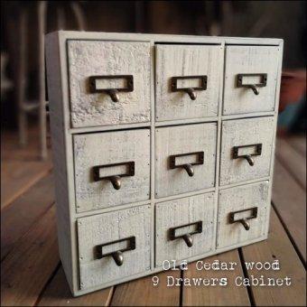 在庫限り アンティーク古材の9引き出しキャビネット シャビーホワイト