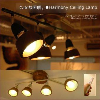 :送料無料!木目・単色から選べるシーリングランプ/スポットライト4灯式(リモコン付き)