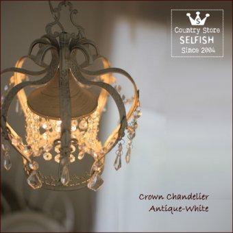 ;クリスタルガラスのプチシャンデリア-クラウン(ホワイト色)