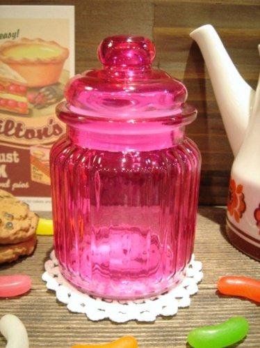ガラスキャンディーポット ピンク