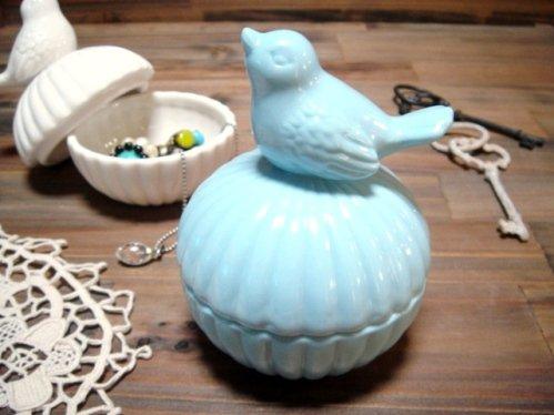スイートアニマル【陶器製小物入れ/バード】 ブルー