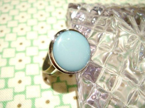 ヴィンテージボタンのレトロリング 指輪 A-ブルー