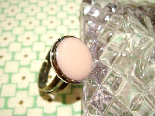 ヴィンテージボタンのレトロリング 指輪 A-パステルピンク