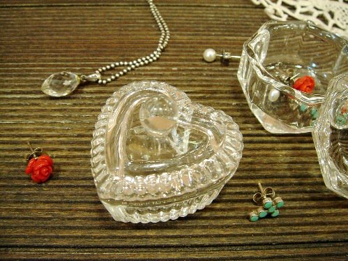 小さなガラスのプチケース Bハート
