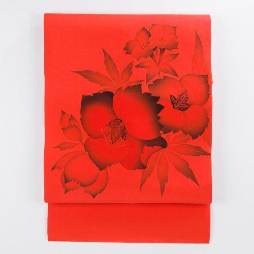 柿色地 手描き 芙蓉の花のサムネイル画像