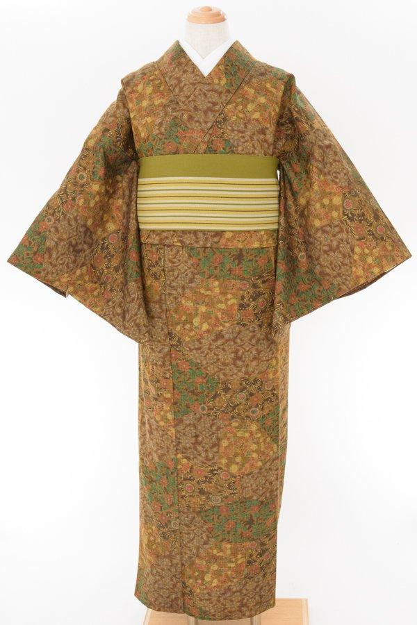 「単ウール●茶 小花など 更紗」の商品画像