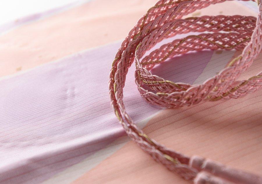 「夏 帯揚げ帯締めセット オレンジベージュや菫色」の商品画像