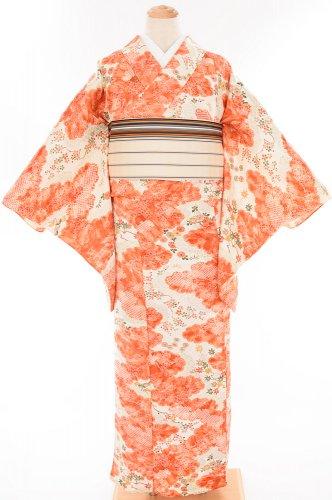 単衣 朱オレンジの雲 菊や紅葉などのサムネイル画像