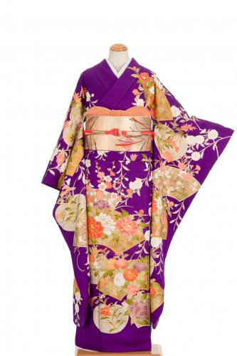 振袖 紫の地 扇面と花のサムネイル画像