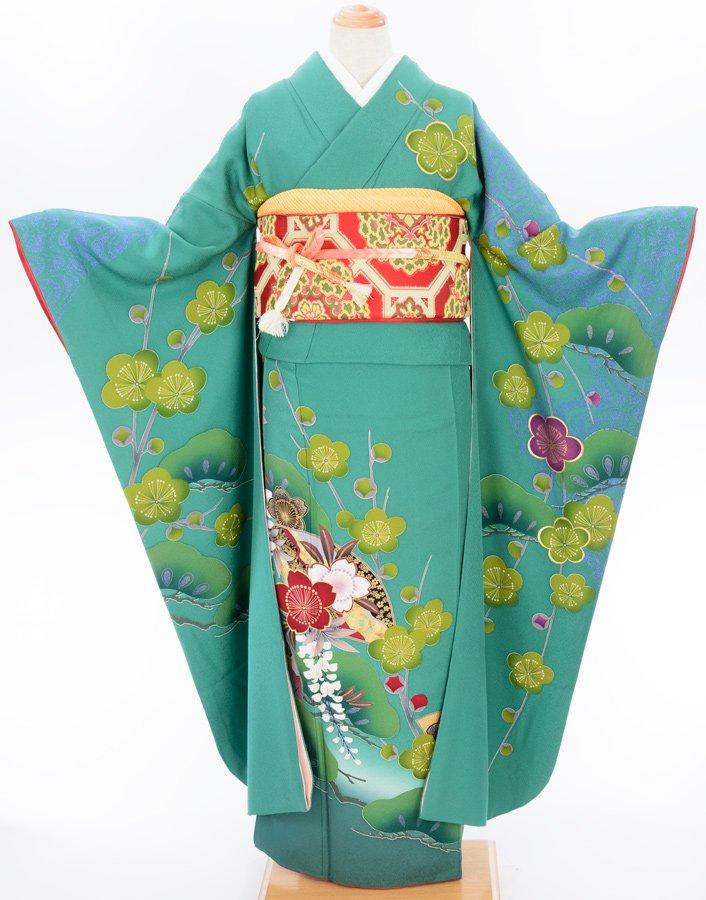 「振袖 長襦袢セット グリーンの地に梅・藤・松」の商品画像