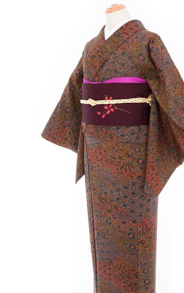 「2点セット*格子に菊・桐などの更紗小紋 白とピンクの実の帯」の商品画像