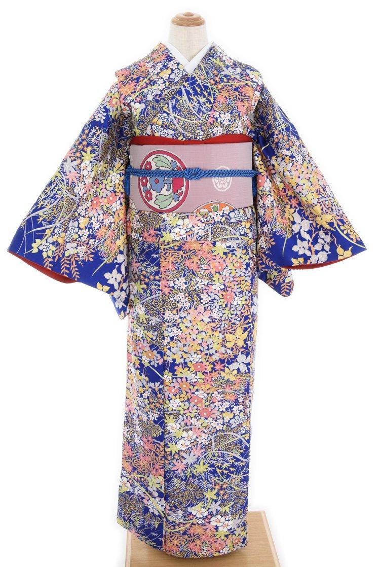 「染紬 鮮やかな青に花畑」の商品画像