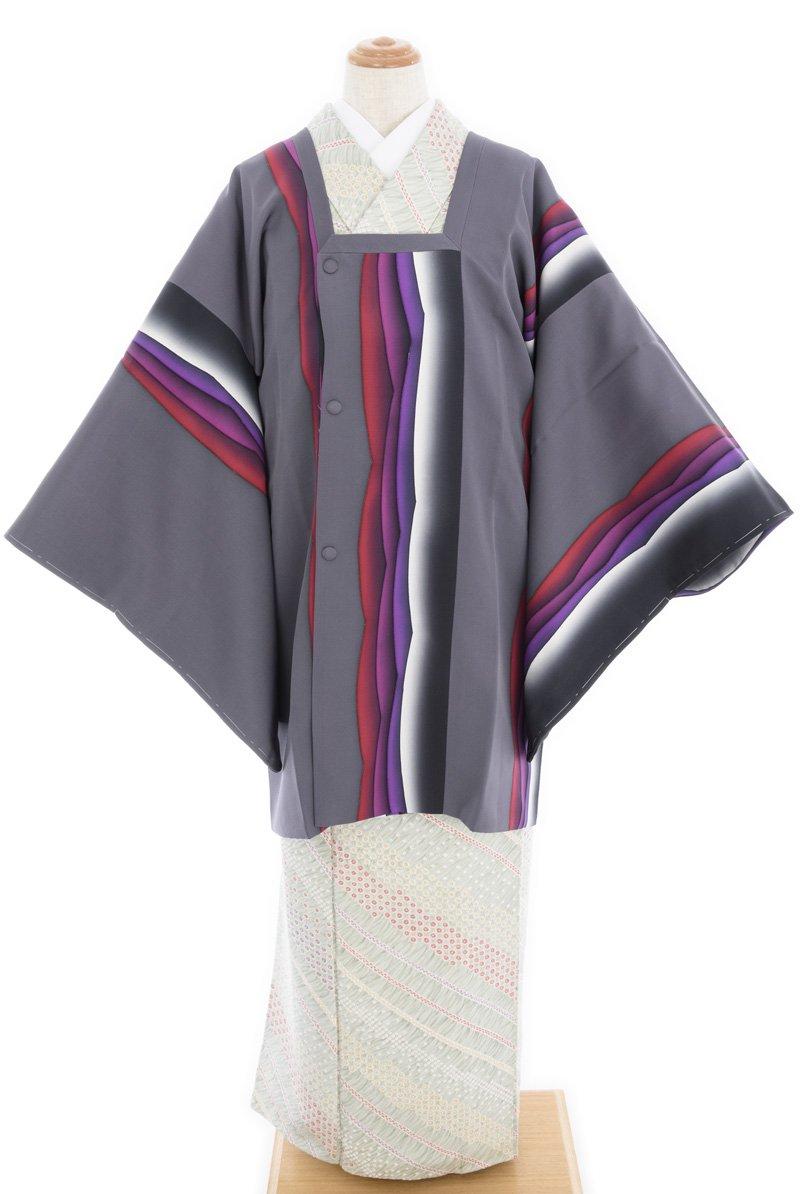 灰色地 紫赤系の曲線 道行コート 11,800円
