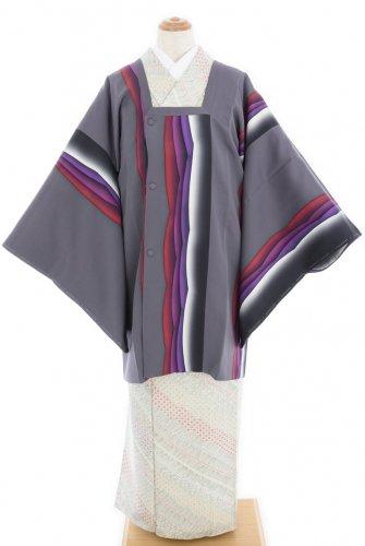 灰色地 紫赤系の曲線 道行コートのサムネイル画像