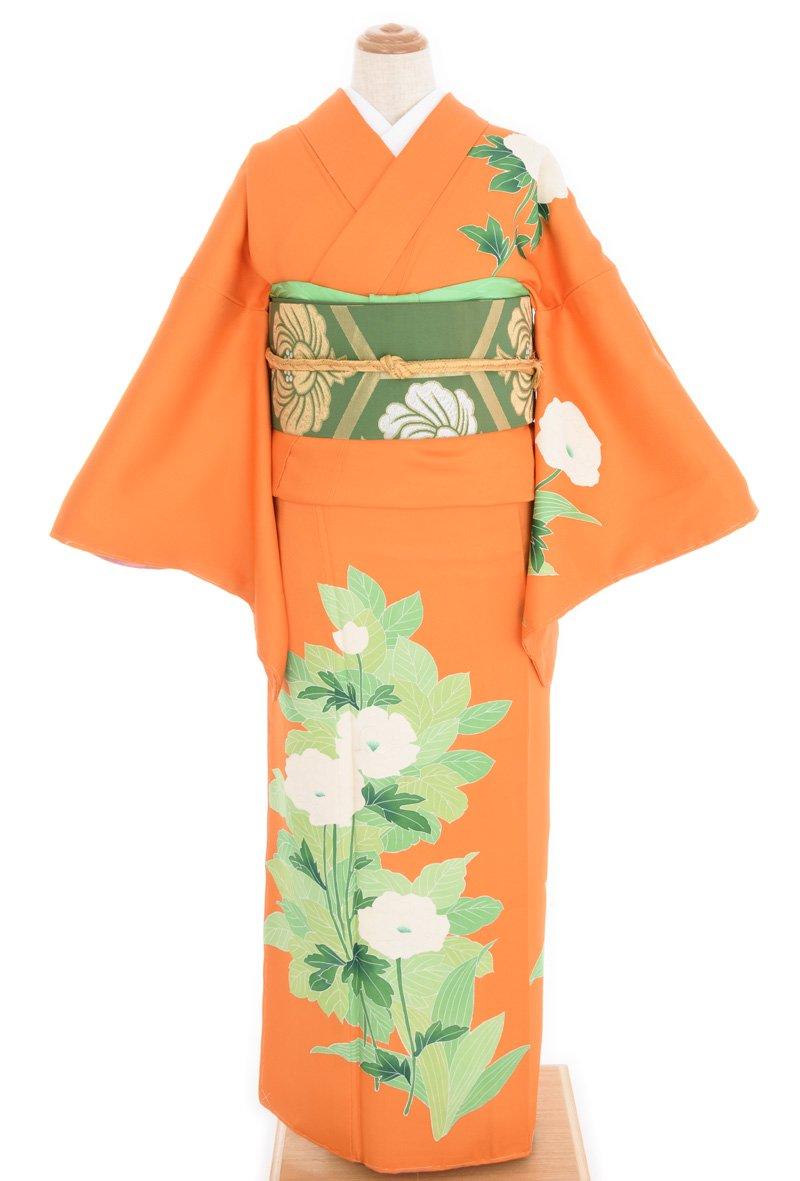 「付け下げ オレンジ地 大輪の白花」の商品画像