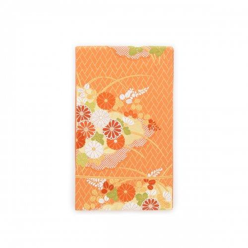 袋帯●蜜柑色の地 雲取りに菊や萩などのサムネイル画像