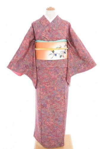 ローズピンクの地 牡丹・菊・菖蒲・桜など