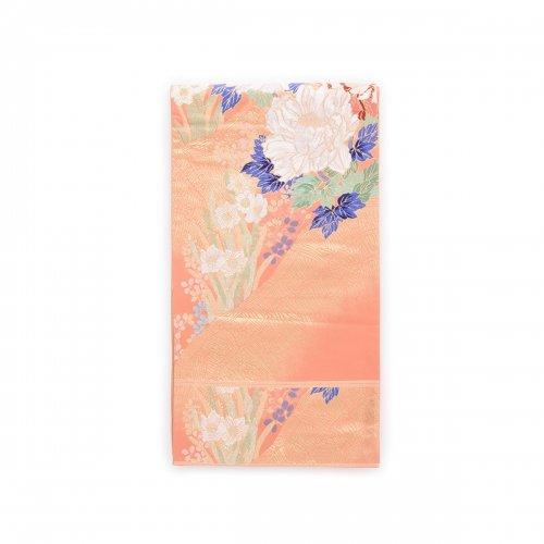 袋帯●サーモンピンクの地 牡丹と水仙