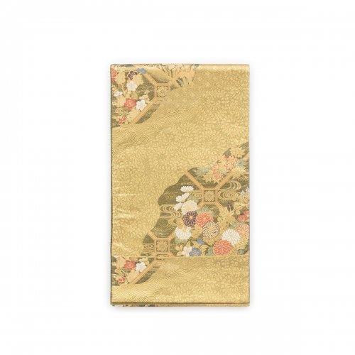 袋帯●霞取り 蜀江に花