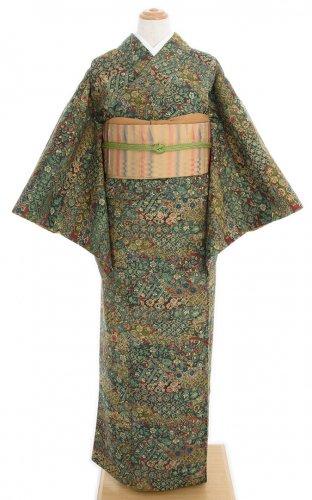 紬 深緑の地 更紗模様のサムネイル画像