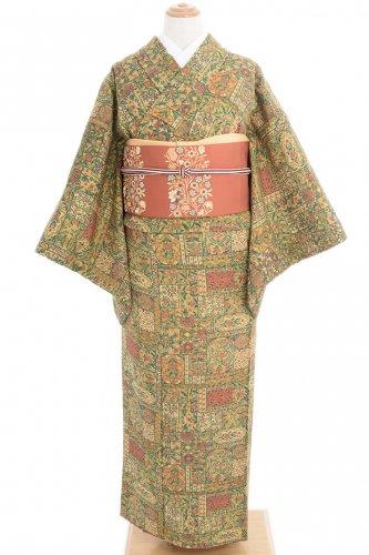 深緑や茶など 更紗文様のサムネイル画像