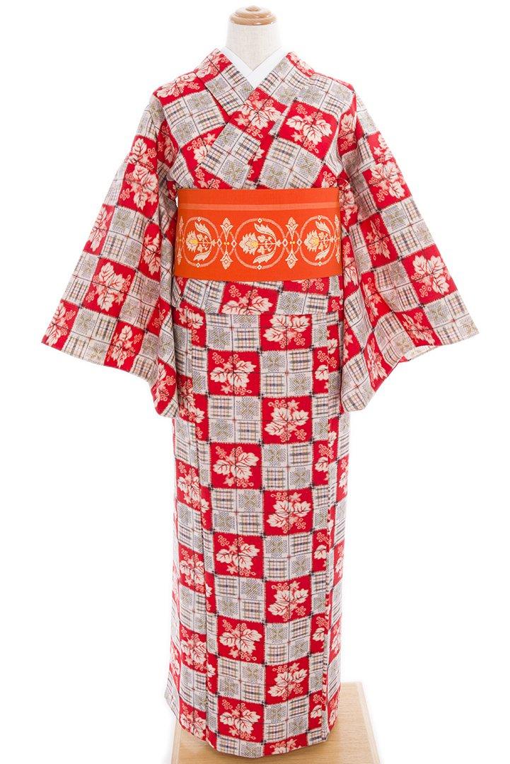 「単ウール●朱色市松 桐と格子」の商品画像