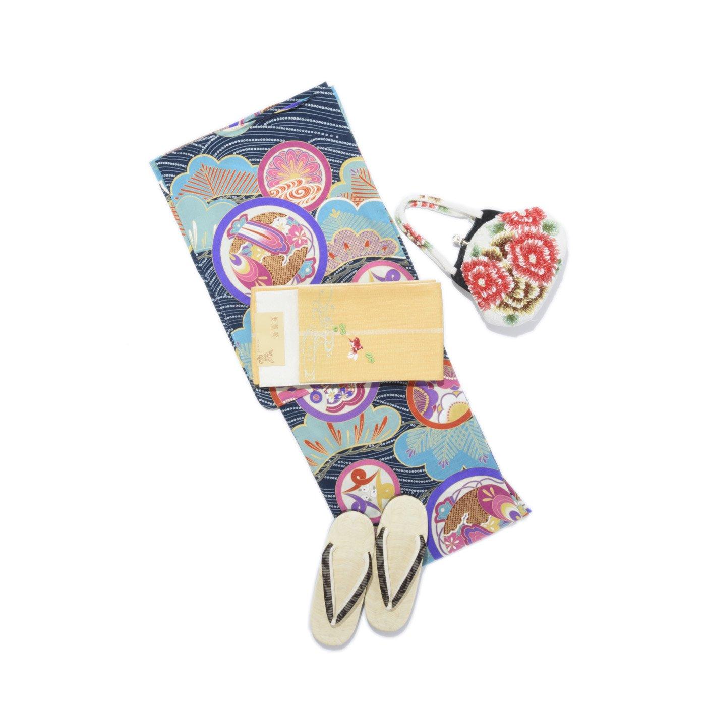 「きもの道楽 セオα アンティーク調 丸紋 青」の商品画像