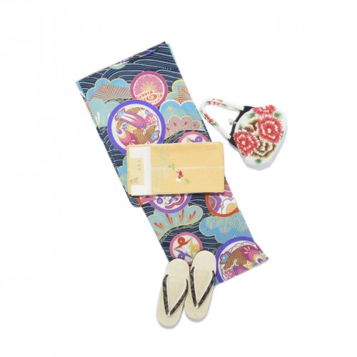 浴衣 セオα アンティーク調 丸紋 青のサムネイル画像