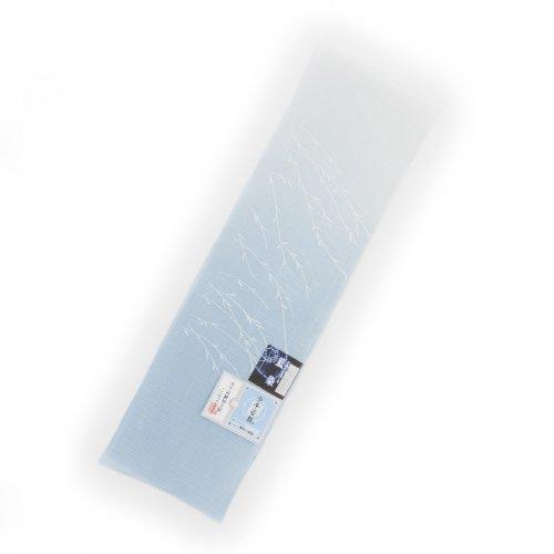 小千谷縮 藍染本麻 絽半襟 白青のサムネイル画像