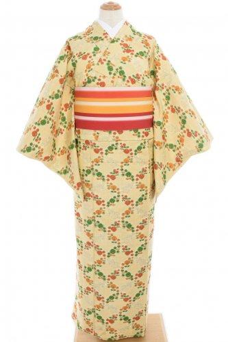 単衣 緑とオレンジの丸い菊