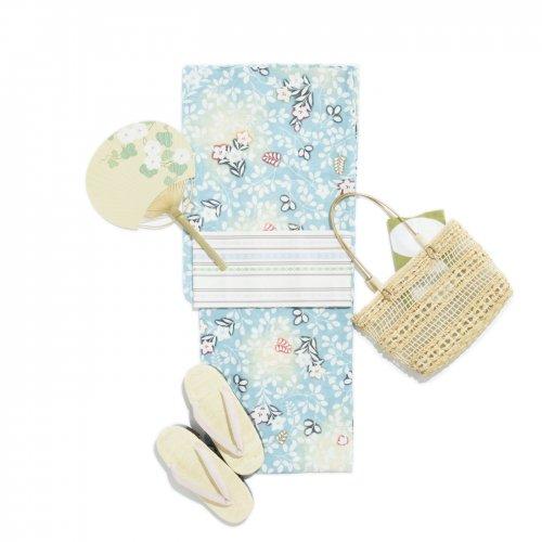 2017新作浴衣 綿絽 水色地 萩桔梗のサムネイル画像