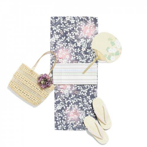 2017新作浴衣 綿絽 紫地 萩桔梗のサムネイル画像
