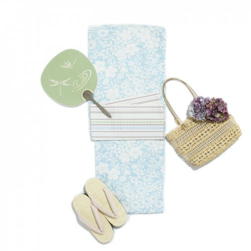 新品浴衣 涼感 水色の地に小花のサムネイル画像