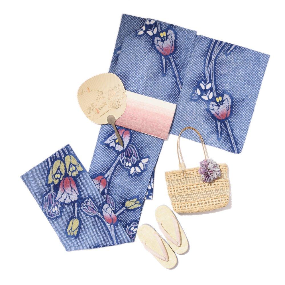 「お仕立て上がり新品 有松絞り浴衣 チューリップと蝶々」の商品画像