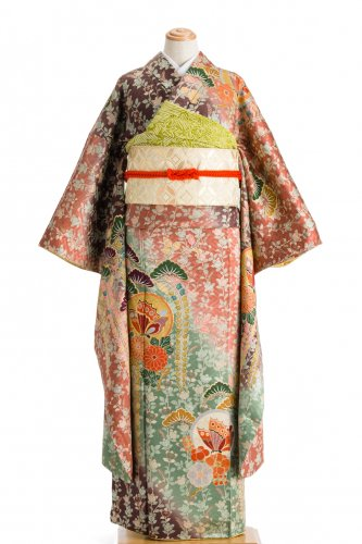 振袖 橘の縞 揚羽の丸に松と藤のサムネイル画像