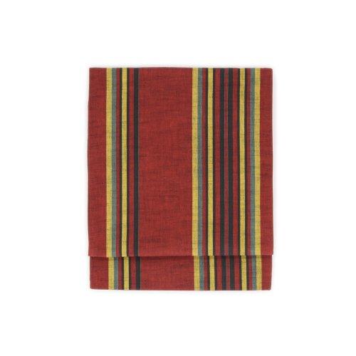 綿京袋帯 赤・黒・黄色・緑の縞のサムネイル画像