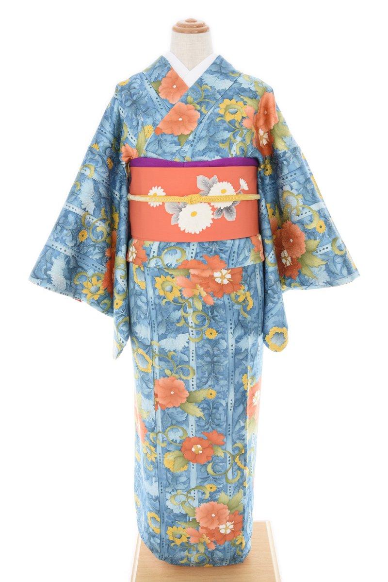 「ブルーの地 オレンジの大輪花」の商品画像