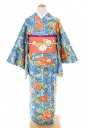 ブルーの地 オレンジの大輪花
