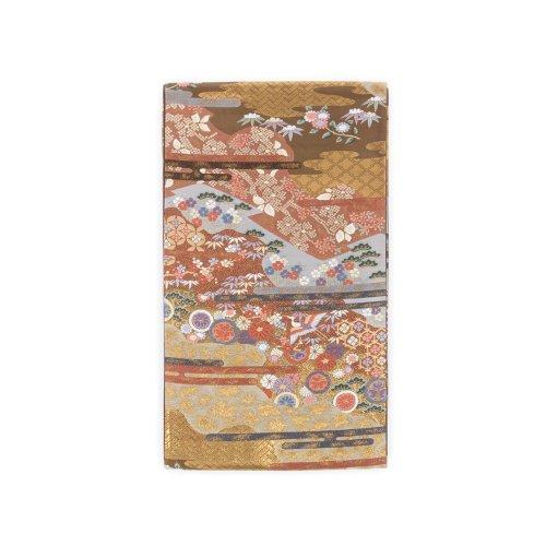 袋帯●焦茶地 金の霞に花や鶴のサムネイル画像