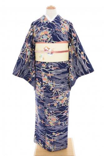 紺地 流水に菊・紅葉のサムネイル画像