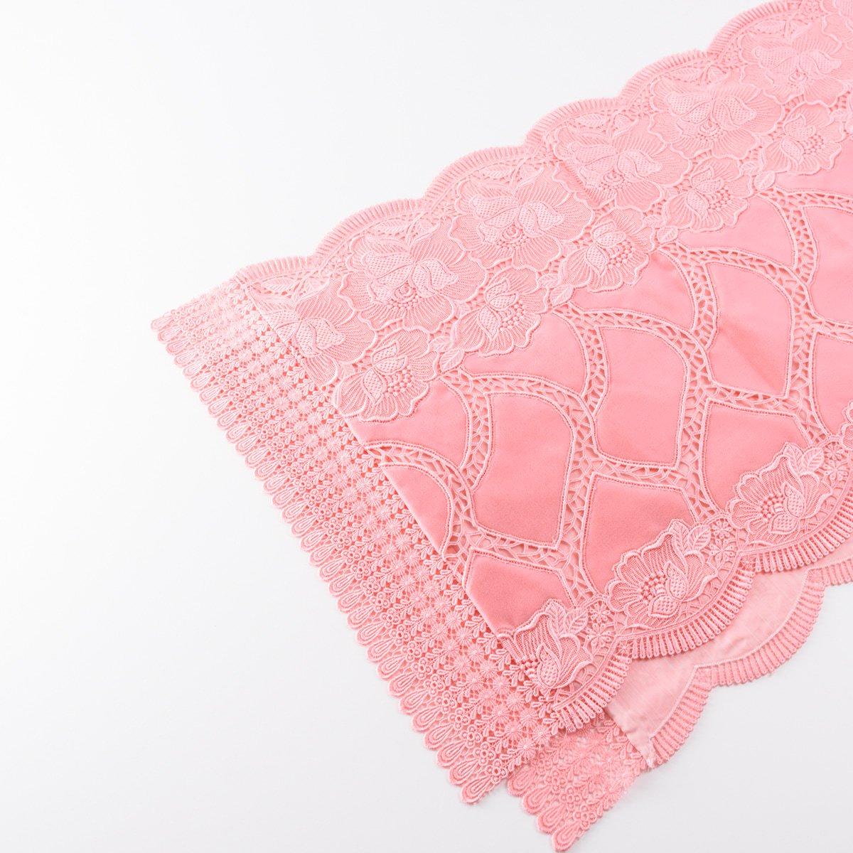 「ショール 桃色 花と網目のレース」の商品画像