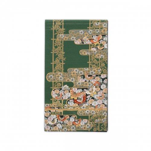 袋帯●深緑地 霞に花や蝶のサムネイル画像
