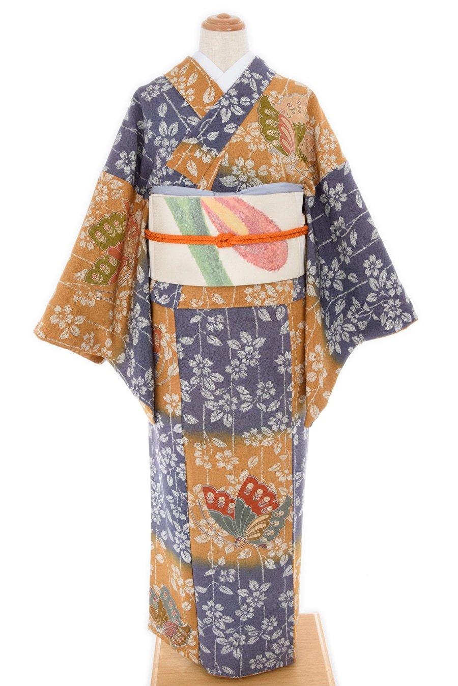 「市松暈し 枝垂れ桜に揚羽蝶」の商品画像