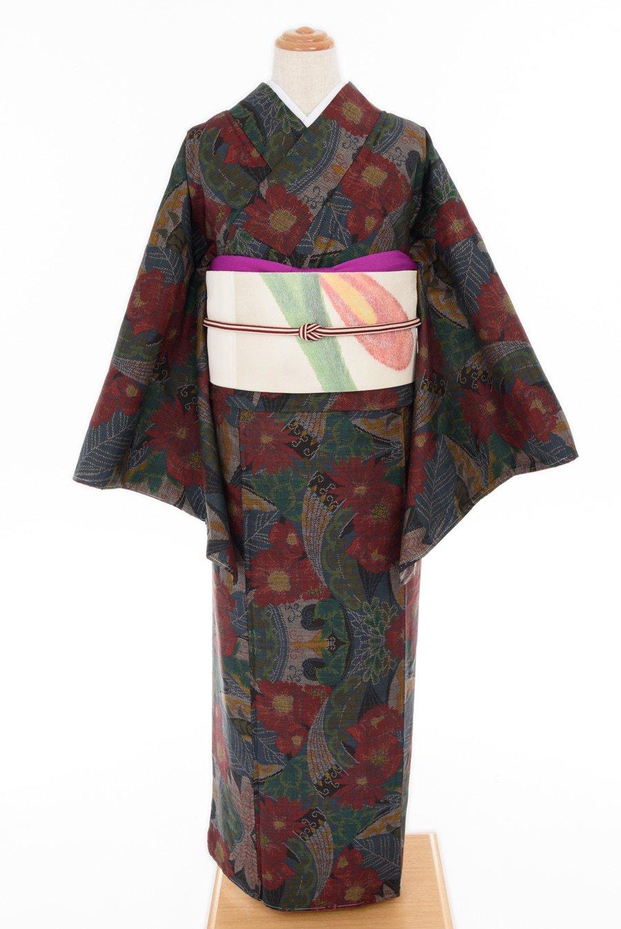 「大島紬 花と孔雀羽」の商品画像