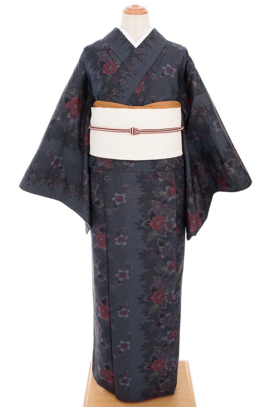 「大島紬 紺地 花ライン」の商品画像