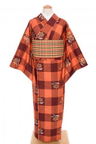 単衣 紬 格子に菊のサムネイル画像