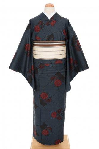 大島紬 紺地に牡丹のサムネイル画像