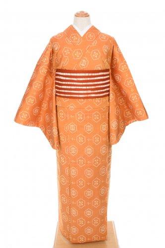 単衣 紬 蜜柑色 亀甲紋のサムネイル画像